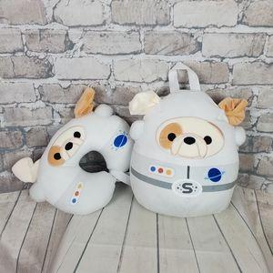Squishmallows Brock Bulldog Backpack & Neck Pillow Set 2021